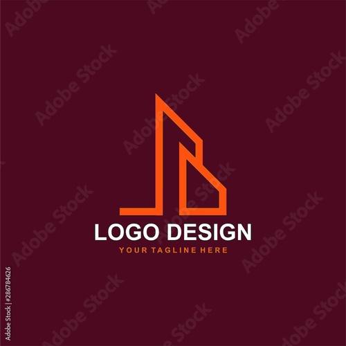 Architectural logo design vector. Real estate line logo design. Home abstract illustration. Wall mural