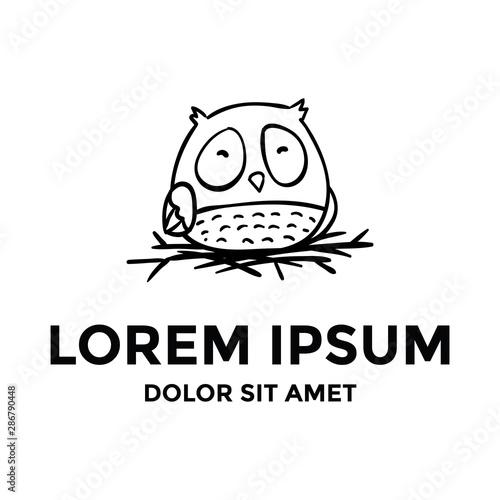 Fotografie, Obraz  Fat adorable cute owl logo hand drawn