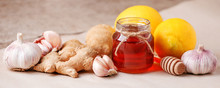 Honey, Ginger, Garlic And Lemon, Healthy Products For Fast Recovery. Homemade Antimicrobial Therapy. Ingredients For Healthy Tea, Seasonal Flu Remedy Drink