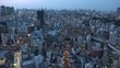 OSAKA, JAPAN - CIRCA JULY 2019 : Aerial view of CITYSCAPE of OSAKA in early evening. It is the capital city of Osaka Prefecture and the second largest metropolitan area in Japan.