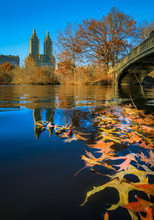 Bow Bridge In Central Park, New York In Fall With Manhattan Buildings In Background And Fallen Leaves In The Foreground