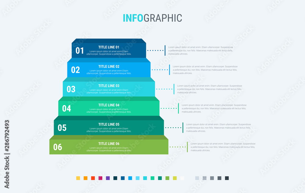 Fototapeta Infographic template. 6 options stairs design with beautiful colors. Vector timeline elements for presentations.