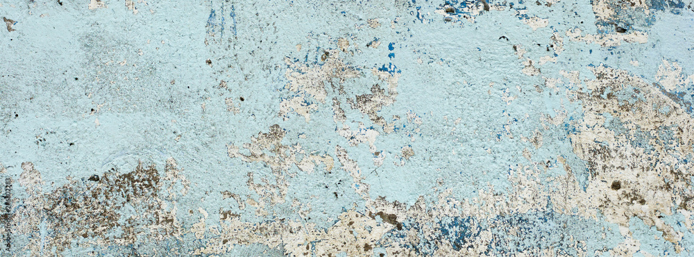 Fototapety, obrazy: very old and dirty light blue paint texture peeling off the concrete wall for banner background