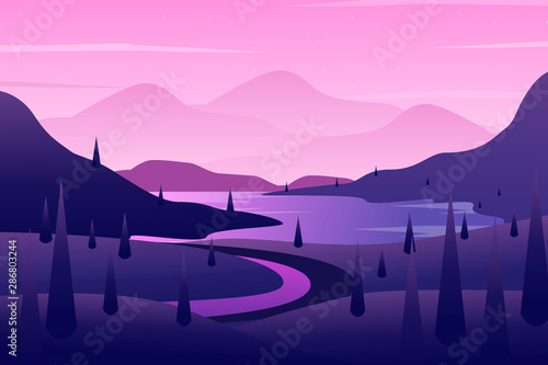 Foto op Plexiglas Purper Natural landscape with pine tree and mountain view illustration