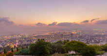 Sunrise View Of Downtown Haifa...