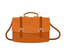Leather Brown Briefcase. Vector Illustration On A White Background.