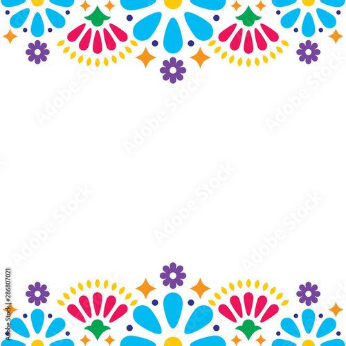 Foto Mexican folk vector wedding or party invitation, greeting card, colorful frame d