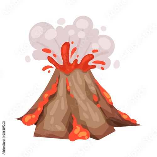Photo Volcano eruption. Vector illustration on a white background.