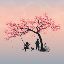 Children Playing On A Tire Swing. Boy, Girl And Dog Under The Tree. Spring. Cherry Blossoms. Vector Illustration, EPS 10
