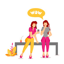 """Card Design With Young Women Sitting On The Bench And Looking At The Smartphone. Speech Bubble With The Word """"wow"""". Vector Illustration For Poster, Banner, Flyer, Brochure, Card."""