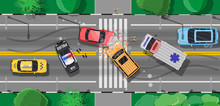 Road Accident Between Two Cars. Broken Wings Bumpers Crashed Windows. City Asphalt Crossroad Marking, Walkways. Roundabout Road Junction. Traffic Regulations. Rules Of Road. Flat Vector Illustration