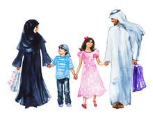 Watercolor Arabian Family