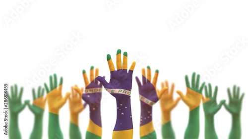 Garden Poster Brazil Brazil flag on people palm hands raising up for volunteer, voting, help wanted, and national holiday celebration praying for Brazilian power isolated on white background (clipping path)