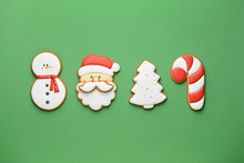Tasty Christmas Cookies On Color Background
