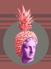 Modern conceptual art poster with ancient statue of bust and pineapple. Colla...