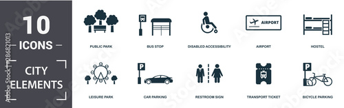City Elements icon set. Contain filled flat disabled accessibility, public park, airport, car parking, street camera, food court, electric car station, transport ticket icons. Editable format