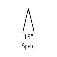 Fifteen Degrees Spot Sign. Beam Angles Sign