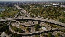 NYC New York Aerial V146 Panning Vertical Detail Of Expressway Intersection Near Corona Park - October 2017