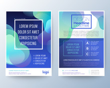 Modern Abstract Fluid Aqua Blue Circle Shape On Gradient Blue Background For Brochure, Flyer, Poster, Leaflet, Annual Report, Book Cover, Graphic Design Layout Template, A4 Size