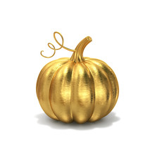 Golden Pumpkin Isolated On White, Clipping Path Included