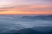 Landscape Of  Sunrise And Sea Of Clouds Over Mountains Layer District Mae Hong Son, THAILAND.