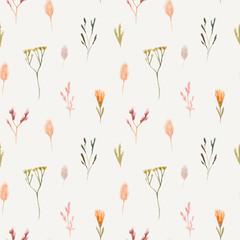 Panel Szklany Do pokoju dziewczyny Seamless pattern of watercolor dried flowers, isolated on white background.