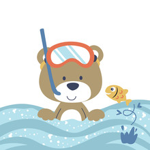 Bear The Diver With A Little Fish, Vector Cartoon Illustration