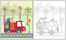 Vector Cartoon Illustration Of Fire Truck With Palm Tree On Building Background, Coloring Book Or Page