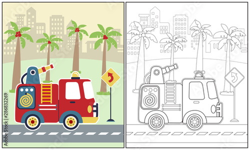 vector cartoon illustration of fire truck with palm tree on building background, Tableau sur Toile