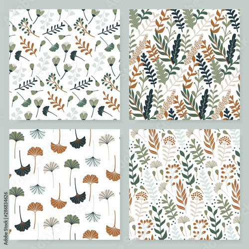 Fotografie, Obraz Modern seamless pattern with leaves, flowers and floral elements