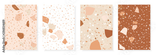 Vector terrazzo design template for invitation, greetings, poster, flyer, etc. Abstract card set with marble texture.