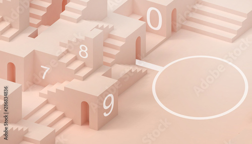 Abstract  Folding paper geometric  Stair Building Business concept minimal Modern Art style Orange paste and background  - 3d rendering - 286834836