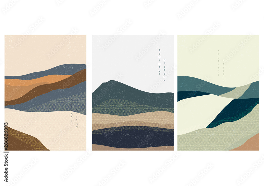 Fototapeta Landscape background with Japanese pattern vector. Geometric template.
