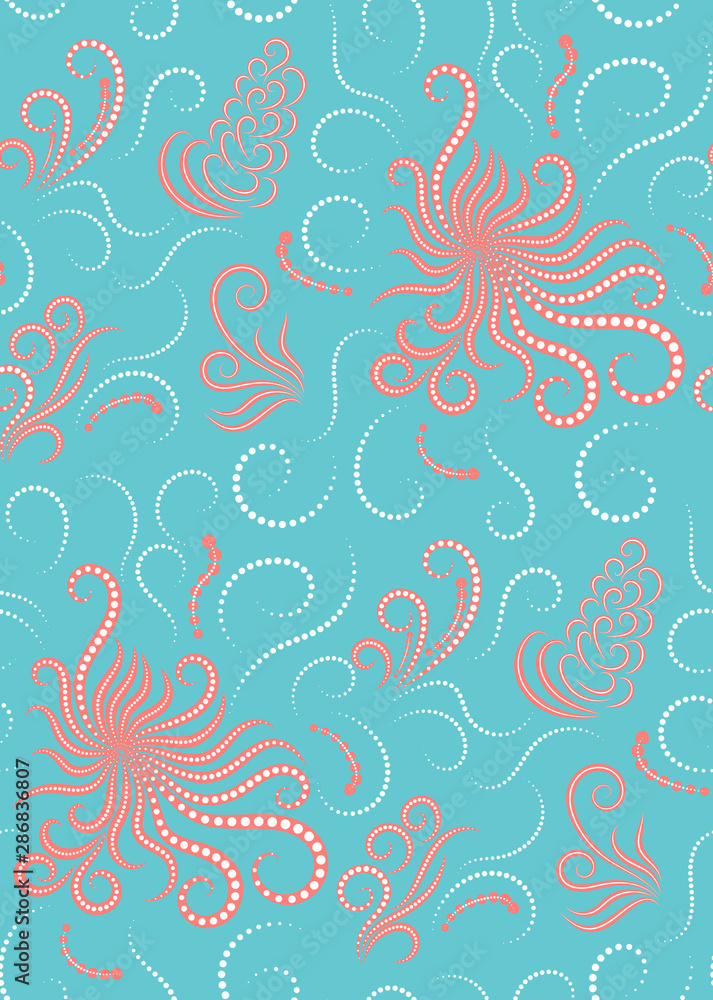 Beautiful marine seamless pattern in white, blue and coral colors. Packaging. Textile. Vector illustration.