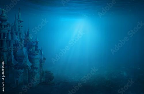 Photo Old ruin castle under the sea