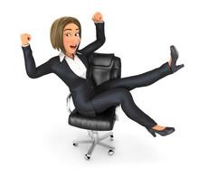 3d Business Woman Celebrating Success At Work