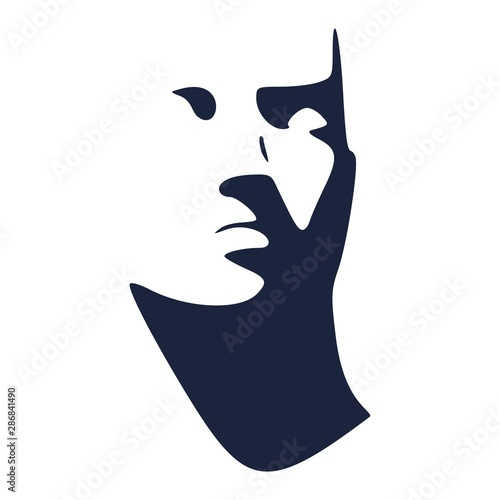 Man avatar. Front view. Male face silhouette or icon. Wall mural