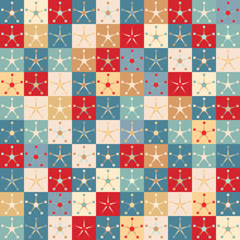 Hand Drawn Stylized Christmas Star Snowflake Seamless Pattern. Starry Pixel Grid Traditional Winter Holiday All Over Print. Vector Swatch
