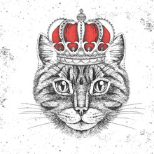 Hipster Animal Cat In Crown. Hand Drawing Muzzle Of Animal Cat