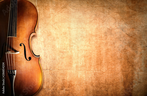 Cello and blank grunge background Poster Mural XXL