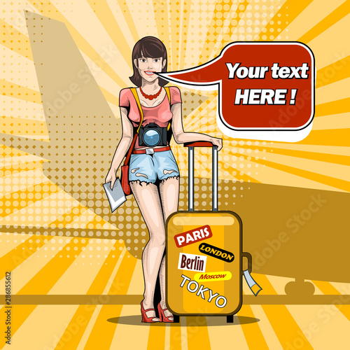 Fototapety, obrazy: Girl on the runway before departure with a suitcase against the backdrop of the plane