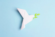 Paper Origami Dove Of Peace Wi...