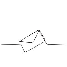One Continuous Line Drawing Of Email Icon Isolated On White Background Handdrawn Style