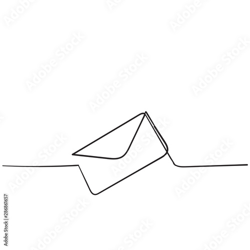 One continuous line drawing of email icon isolated on white background handdrawn style Fototapete