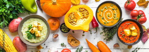 Cadres-photo bureau Nourriture Autumn soups set