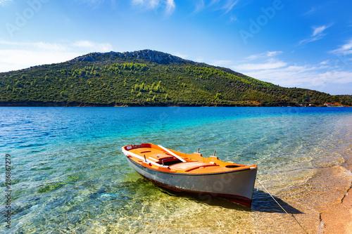 Colorful fishing boat at Mediterranean sea.