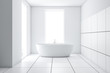 Leinwanddruck Bild - Modern white tile bathroom interior with tub