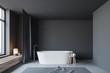 Leinwanddruck Bild Dark gray bathroom interior with tub