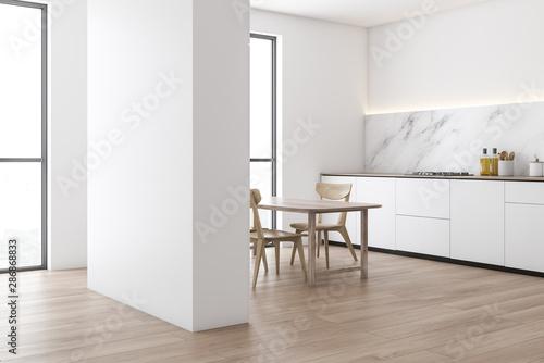 Fototapeta Marble and white kitchen corner, counter and table obraz