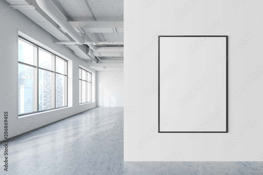 Fototapety, obrazy: Mock up poster in white industrial style office